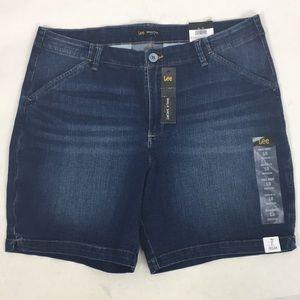 Lee Denim Blue Jean Walking Shorts Mid Rise New